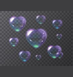 Set purple soap bubbles hearts vector