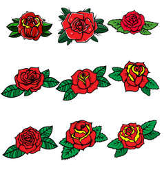 set tattoo style roses design element vector image