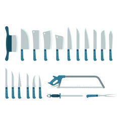 Set twenty different knives hatchets and saw vector