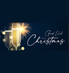 shining champagne merry christmas and happy new vector image