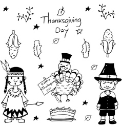 Sketch doodle Thanksgiving icon set vector