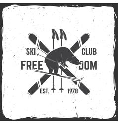 Ski club concept with bear vector image