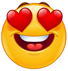 Smiling emoticon face with heart eyes vector