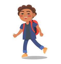 Smiling kid in blue jacket and jeans with rucksack vector