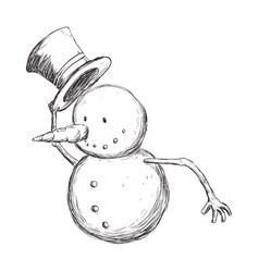 snowman cartoon christmas vector image