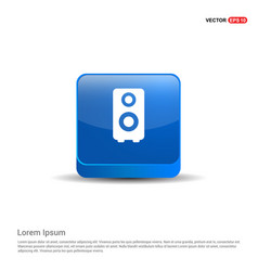 speaker icon - 3d blue button vector image