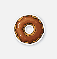 Sticker donut with chocolate glaze vector