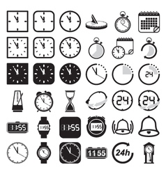 Time and clock icon set vector image