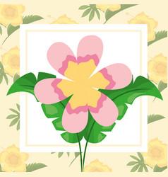 tropical leaves flower floral background design vector image