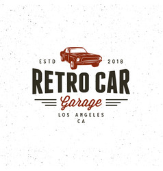 Vintage muscle car garage logo vector