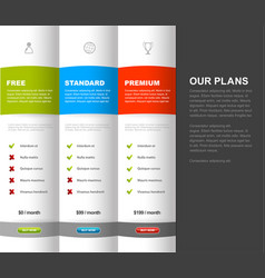 website product pricing comparison table template vector image