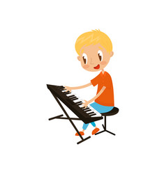Young keyboardist playing on synthesizer little vector