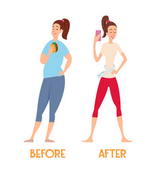changes before and after a diet slim and fat vector image vector image