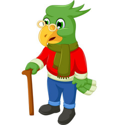 cute old parrot cartoon holding a stick vector image