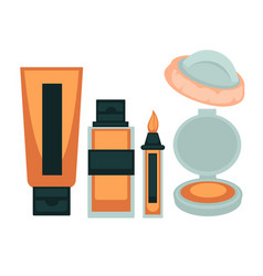 Face skin make up cosmetic tools colorful poster vector