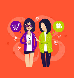 fashionable girls with smartphones vector image vector image