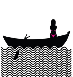 girl with bikini in boat silhouette vector image vector image