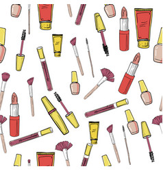 glamorous make-up seamless pattern vector image vector image