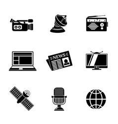 Set of media icons - news radio tv internet vector image vector image
