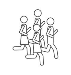 silhouette pictogram men jogging in marathon vector image