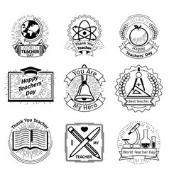 Teachers day emblems set School and education vector image