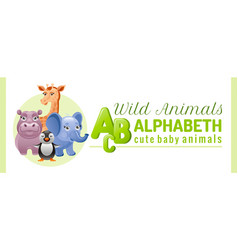 alphabet infographics wild cute animals abs logo vector image