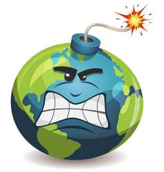 earth planet warning bomb character vector image