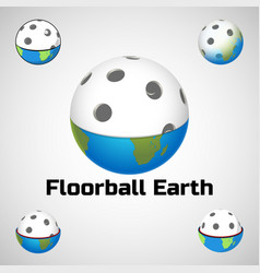Floorball earth logo for the team and the cup vector