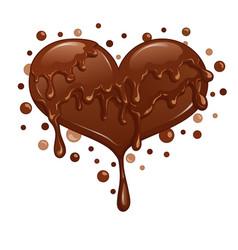 liquid chocolate heart vector image vector image