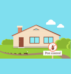 pest control concept with cockroach leaving house vector image