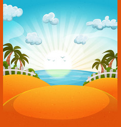 cartoon summer beach landscape vector image vector image