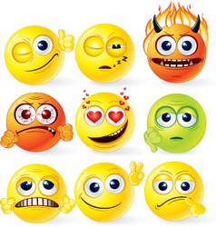 funky smilies set2 vector image