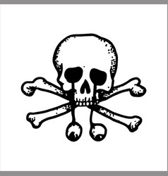 hand drawn sketch of a skull with fallen eyes vector image