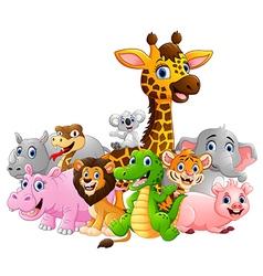 Happy safari animal cartoon vector image