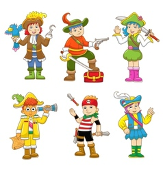 set of pirate child cartoon vector image vector image