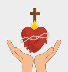 heart with cross religious symbol vector image vector image