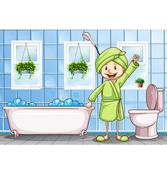 woman in the bathroom vector image