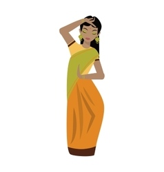 Young traditional indian woman ethnicity clothes vector