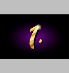 1 one number numeral digit golden 3d logo icon vector image