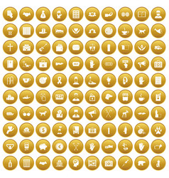 100 donation icons set gold vector image