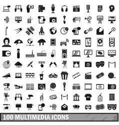 100 multimedia icons set in simple style vector image