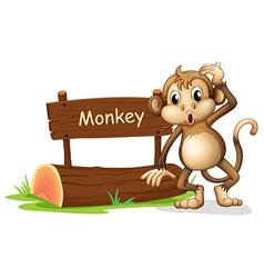 A monkey beside a sign board vector
