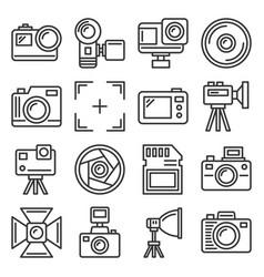 action camera and photography equipment icons set vector image