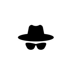 agent icon spy sunglasses hat and glasses vector image