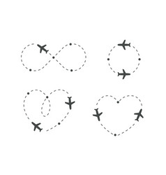 Airplane dotted route icon set plane silhouette vector