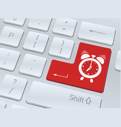 alarm clock icon on white computer keyboard vector image