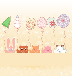 animals with new years balloons on pastel vector image