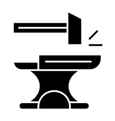 Anvil with hammer solid icon blacksmith vector