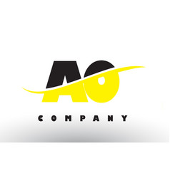 Ao a o black and yellow letter logo with swoosh vector