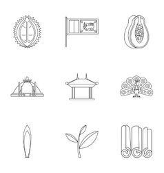 Attractions of sri lanka icons set outline style vector